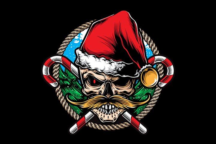 skull santa mustache