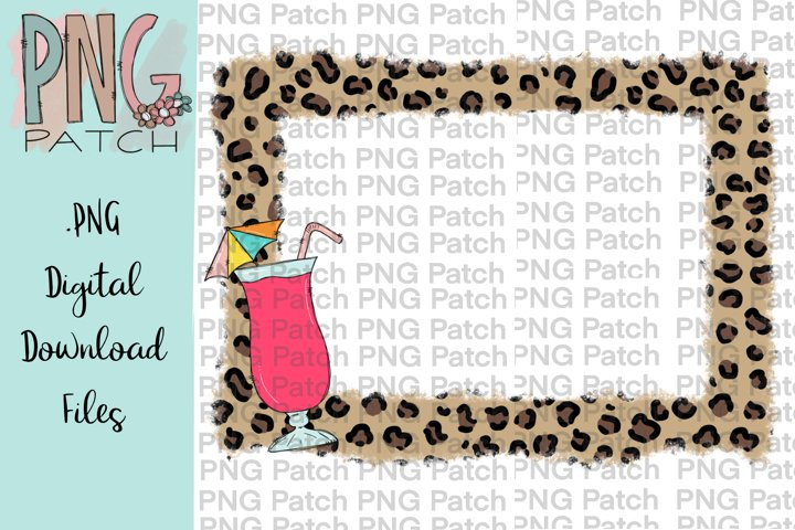 Torn Edge Leopard Print Frame with Daiquiri, Drink PNG File