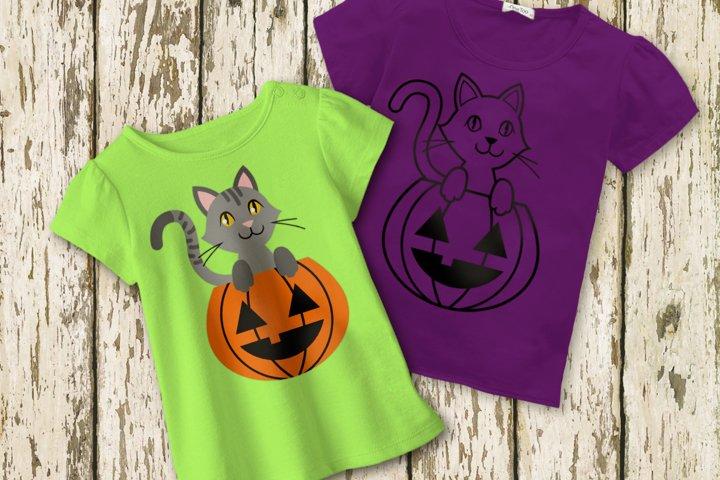 Halloween Pumpkin Cat SVG Design