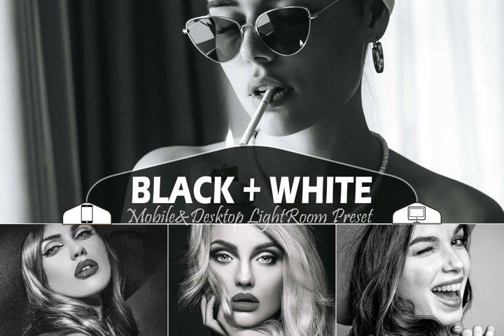 18 Black White Mobile & Desktop Lightroom Presets B&W Filter