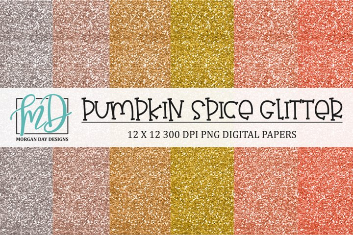Pumpkin Spice Fall Glitter Digital Scrapbook Paper