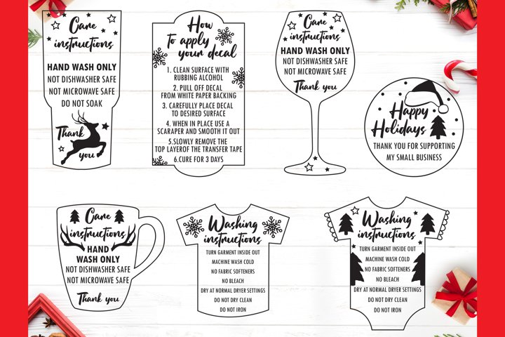 Christmas Care instruction svg- Care Card bundle svg