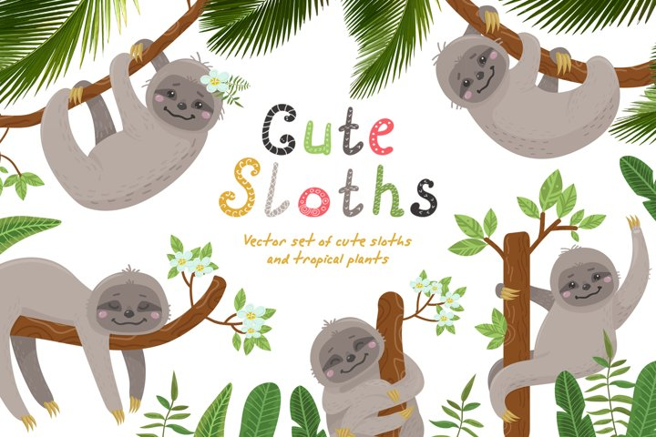 Cute sloths and tropical plants