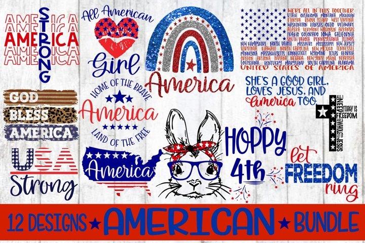 AMERICA - Bundle - 12 Designs - SVG EPS DXF PNG