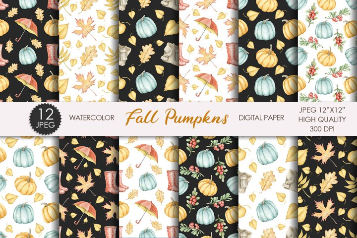 Watercolor Fall Digital Paper. Pumpkin Harvest patterns