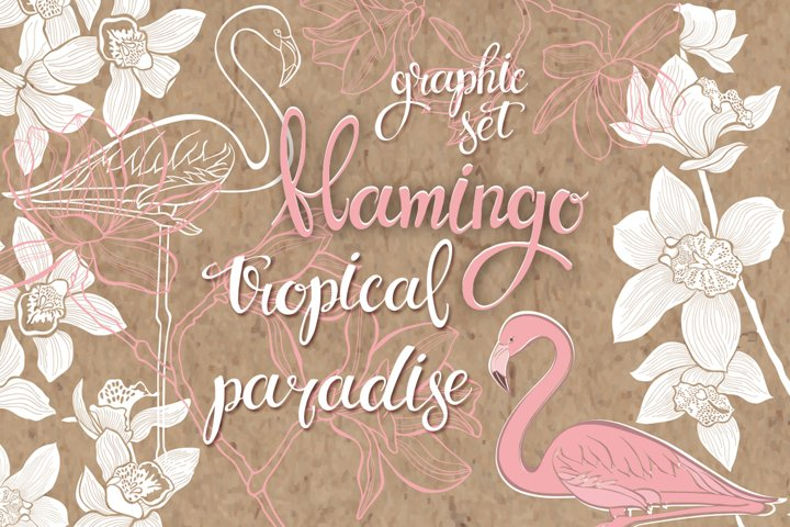 Flamingo. Tropical paradise.