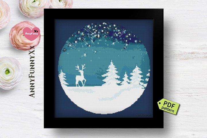 Christmas silhouette cross stitch pattern PDF