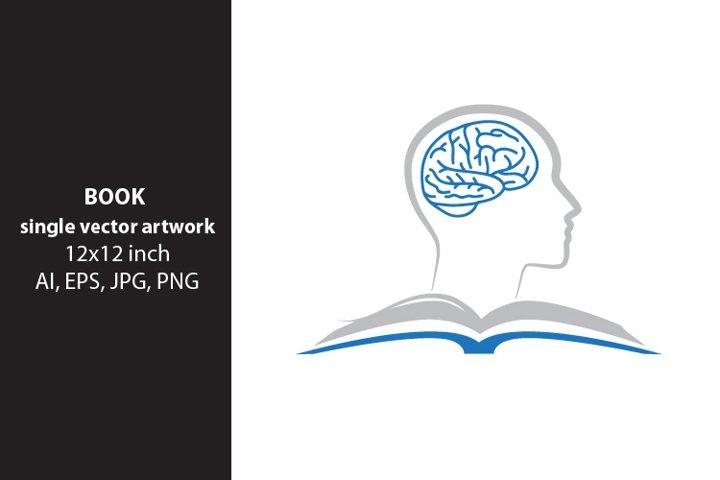 Open Book- human brain, SINGLE VECTOR ARTWORK