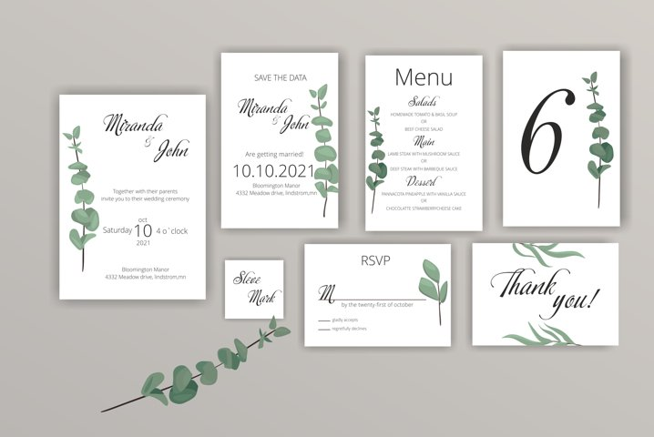 Wedding Invitation Template Bohemian Greenery Invite Set