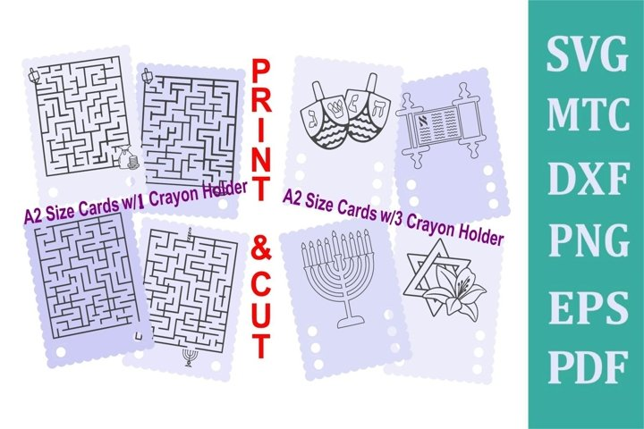 SVG Hanukkah Scallop 4x5 Cut & Print Crayon Holders