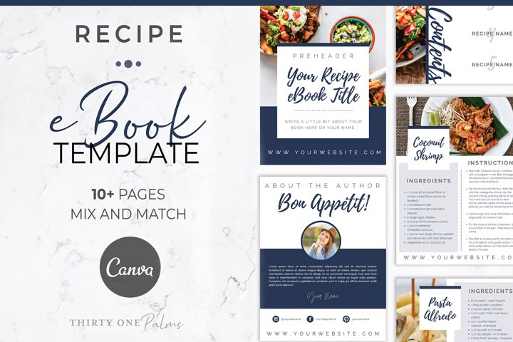 Recipe eBook Template for Canva