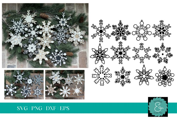 Layered Snowflake SVG, Glowforge SVG, Christmas Ornament SVG