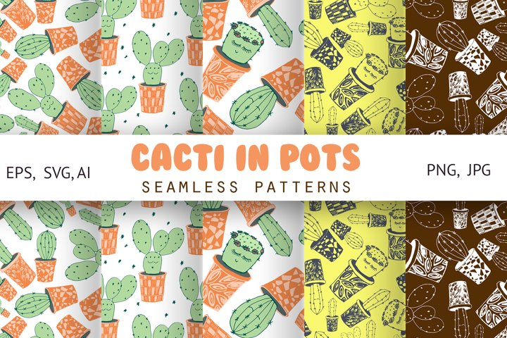 Cacti with funny kawaii faces. Seamless patterns