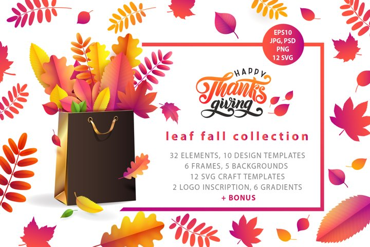 Leaf Fall Collection / Templates, frames, Thanksgiving logo