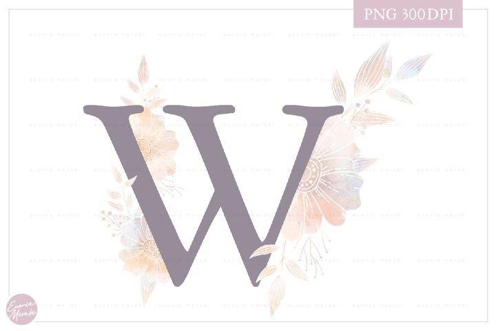 MONOGRAM Letter WElegant Floral Monogram - Flower initials