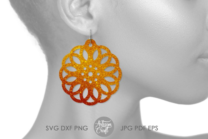 Geometric earring SVG, Leather earring template, Cut file example 2