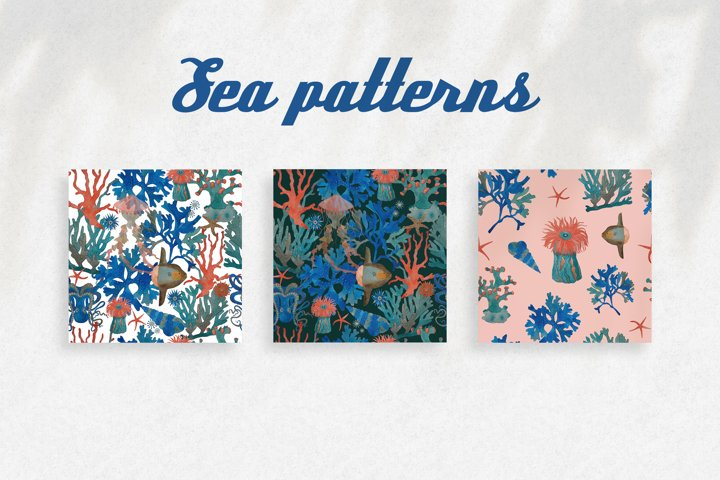 Watercolor pattern with sea creatures