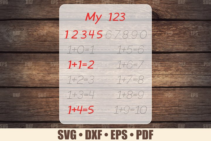 Tracing Board SVG Glowforge file, Numbers Tracing Glowforge