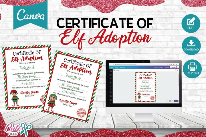 Certificate of Elf adoption Templante editable with Canva