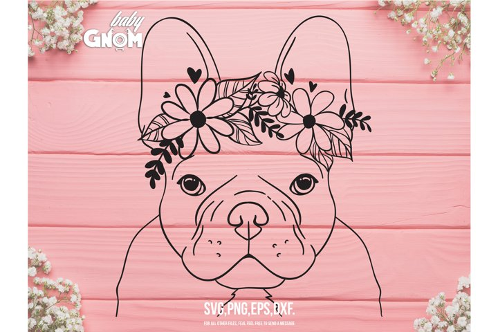 French Bulldog Flower Crown SVG, Frenchie Flower Crown svg,