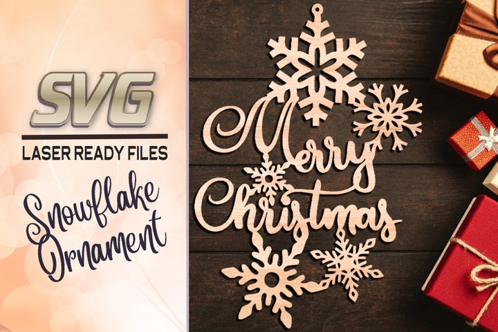 Merry Christmas Snowflake Ornament SVG Glowforge Files