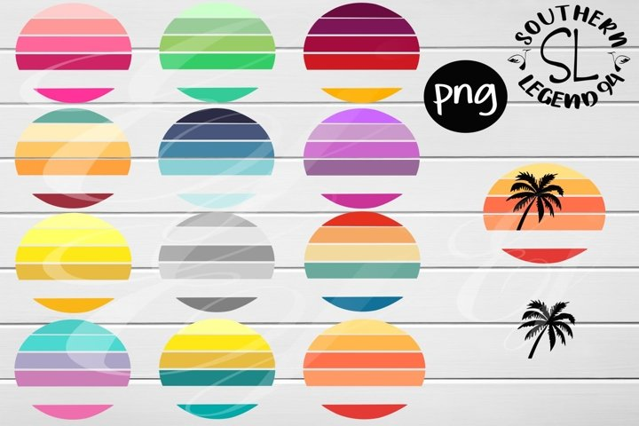 12 split round circles with palm tree png Sublimation print