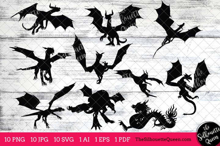 Dragon Silhouettes Clipart Clip Art(AI, EPS, SVGs, JPGs, PNGs, PDF) , Dragon Clip Art Clipart Vectors - Commercial and Personal Use