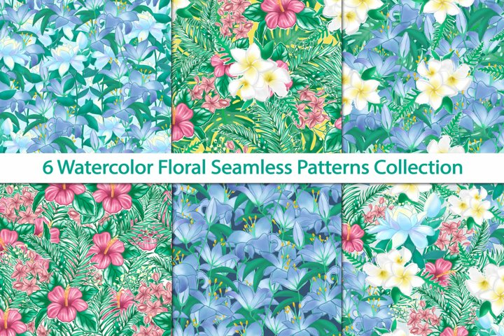 seamless patterns with watercolor floral elements collection