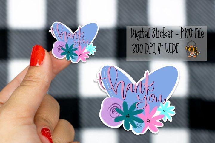 Pastel Thank You Floral Heart Digital Sticker