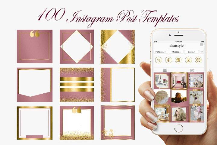 Pink Gold Instagram Post Templates, Instagram post frames