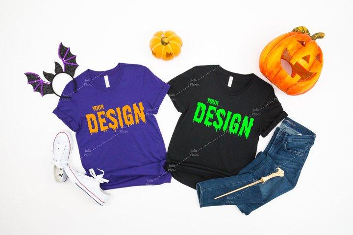 Bella Canvas 3001 Team Purple Black T-shirt Mockup Halloween