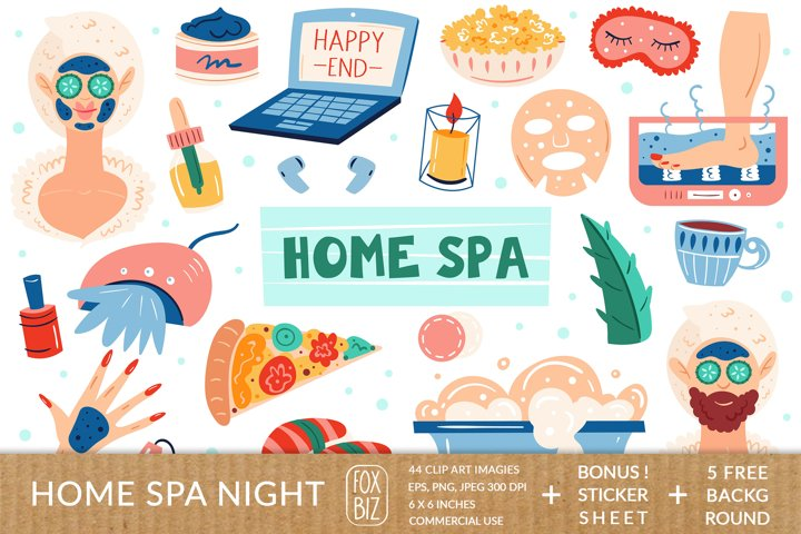Home spa clipart. Digital prints, backgrounds. Stickers.