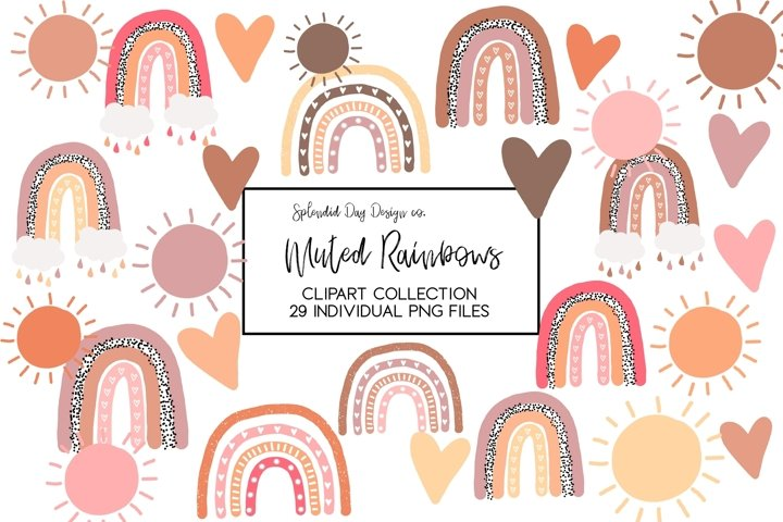 Muted rainbows clipart collection, fall rainbows