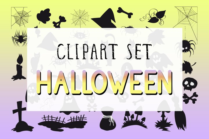 Vector set of Halloween clipart.