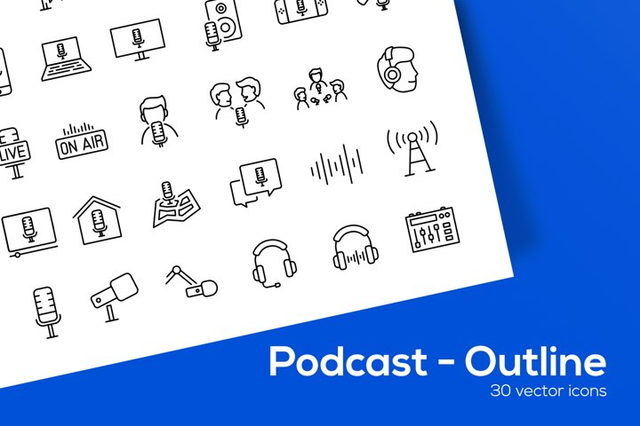 Podcast - Outline Icons Set