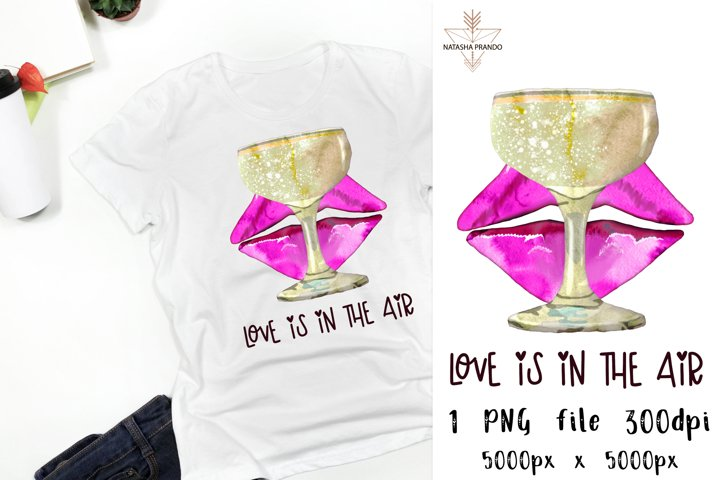 Love is in the air Lips and Champagne design
