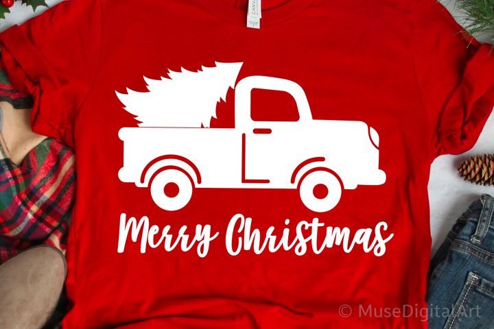 Merry Christmas Svg, Red Vintage Truck Svg, Farmhouse Christ