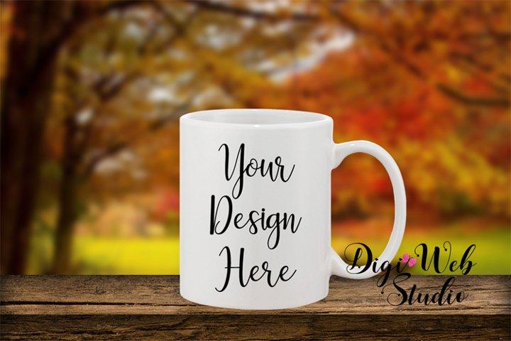 Coffee Cup Mockup - Fall Country Coffee Mug on Wood Shelf