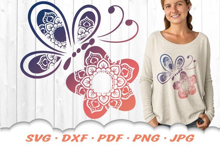 Floral Butterfly Mandala SVG DXF Cut Files Bundle
