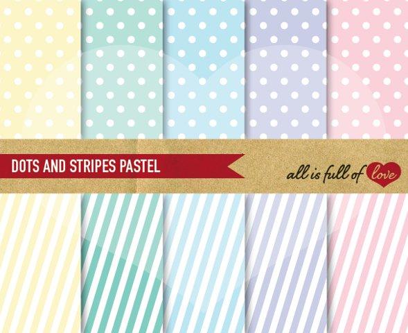 Pastel Background Patterns Polka Dots and Stripes Digital Paper Pack
