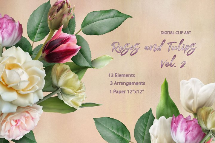 Roses and tulips clipart. Flowers bouquets.