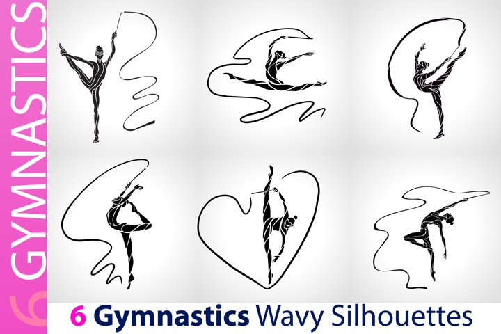 Gymnastics Girls with Ribbon Silhouette Set