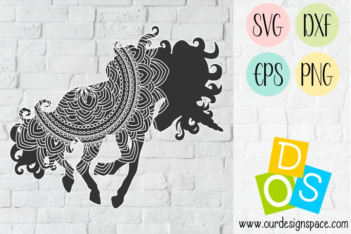 Unicorn Mandala SVG, DXF, EPS and PNG Crafting Files