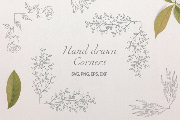 30 Hand Drawn Floral Corners and Borders