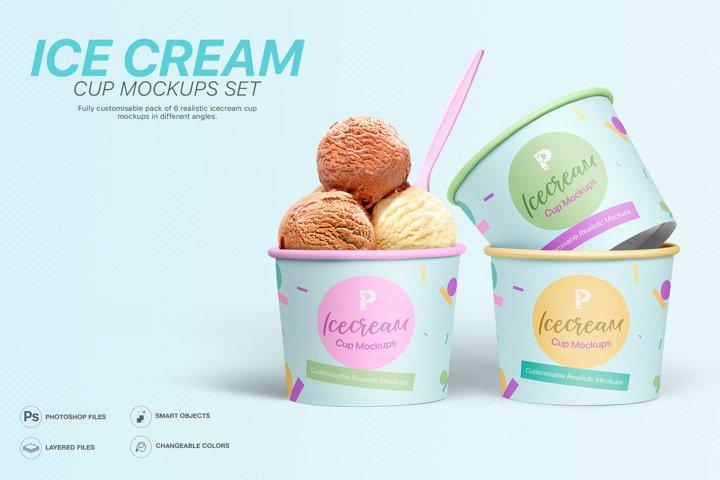 Ice Cream Cup Mockup Set