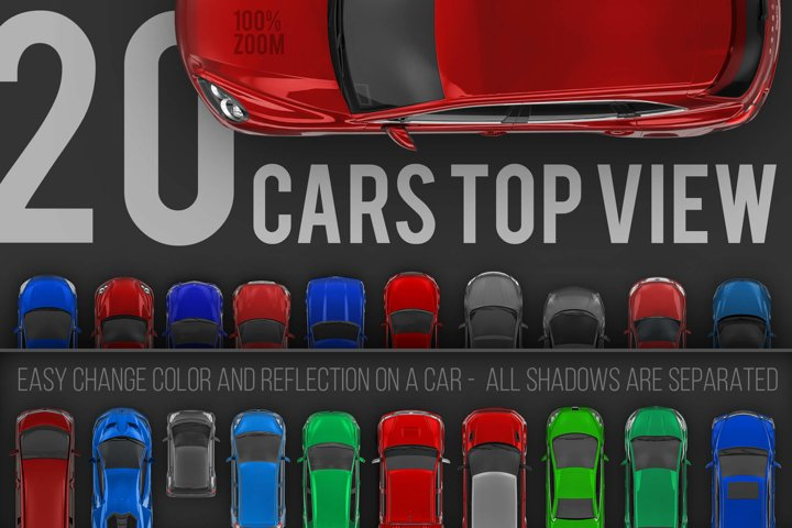 20 Cars top view renders