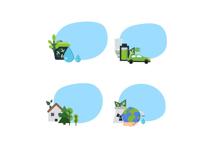 Vector set of stickers with ecology flat icons