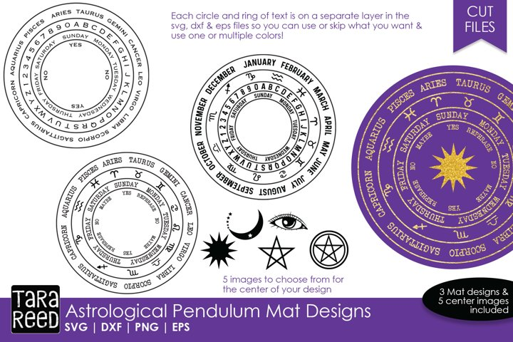 Astrological Pendulum Mats - SVG and Cut Files for Crafters