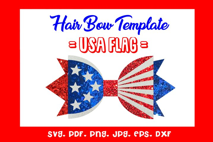 USA Flag - Hairbow Template/ SVG/DXF/PDF