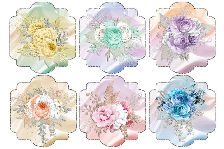 Silver Framed Floral Toppers 2